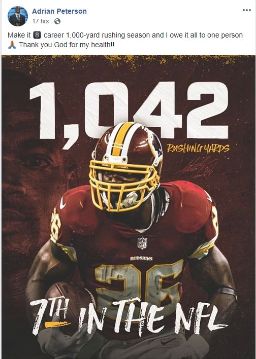 Adrian Peterson 2018 1042 yards rushing Redskins