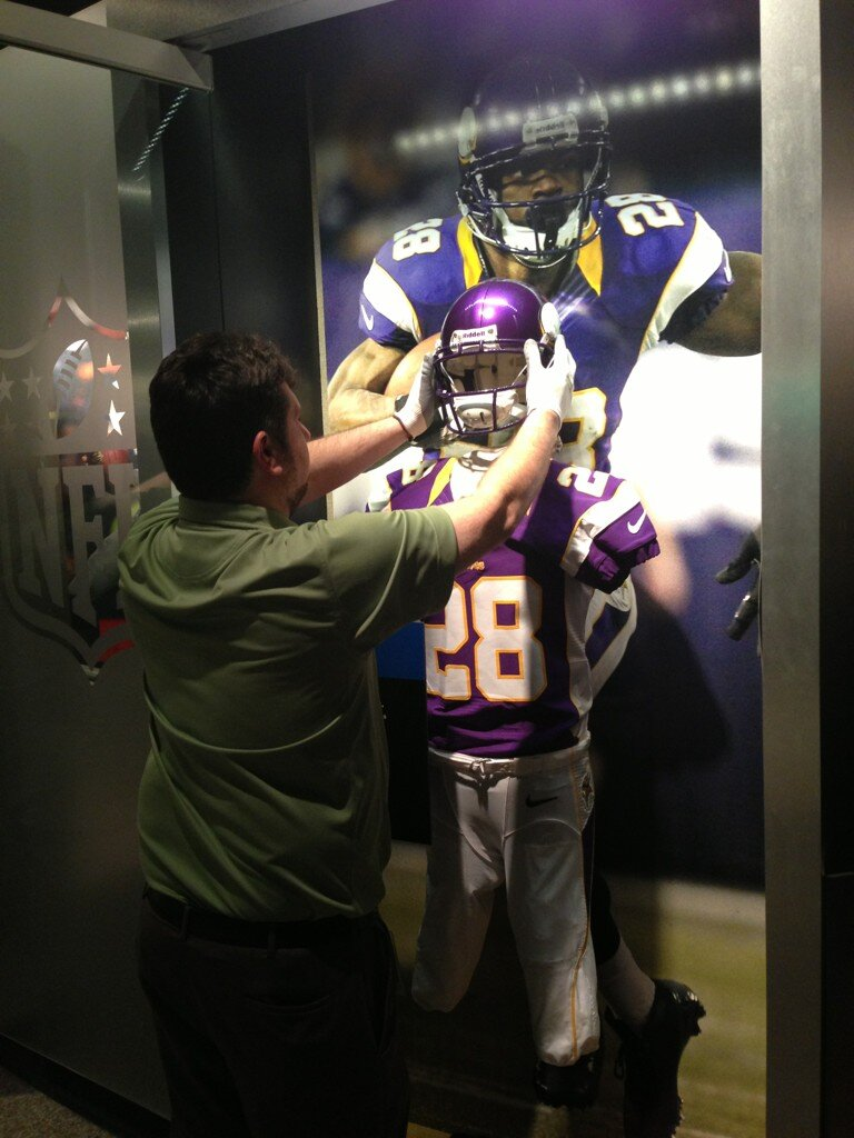 Adrian Peterson Viking Uniform goes into Canton Ohio Football Hall of Fame