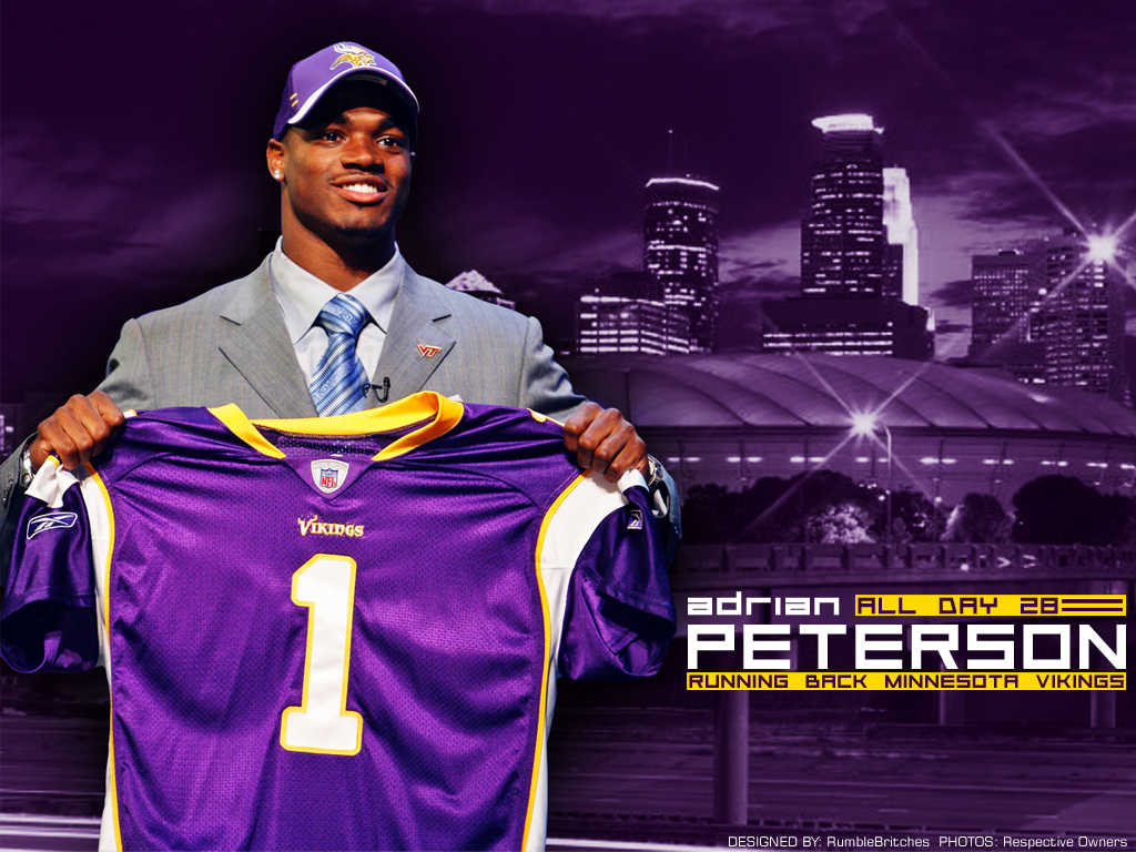 New Adrian Peterson Draft Day Wallpaper with Vikings cap and jersey